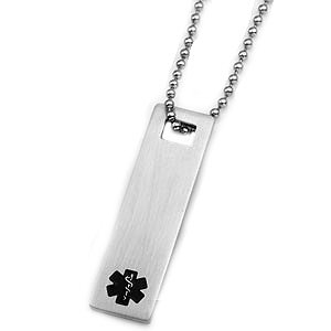 Black Medical ID Dog Tag