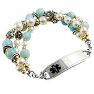 Bahama Breeze triple strand, silver, gemstones, pearls, medical alert bracelet, engraved medical tag