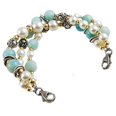 Bahama Breeze triple strand sterling silver gemstone pearls Medical Alert Bracelet