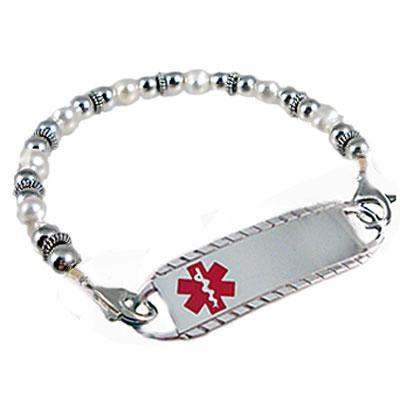 Silhouette medical alert bracelet, cube and bicone crystals, Creative Medical ID