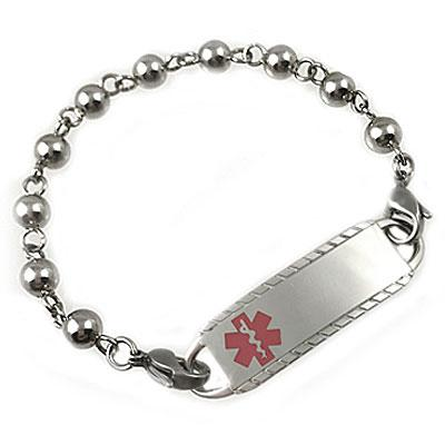Baubles stainless medical id bracelet, engraved medical tag