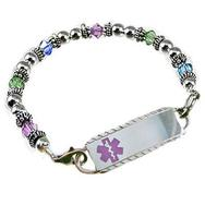 Birthstone Bouquet medical alert jewelry, three crystal colors, silver beads, stainless id tag, free