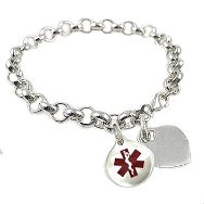 Sterling Silver Plated Rolo Link Medical Bracelets