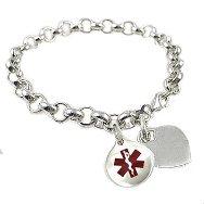 Sterling Silver Plated Rolo Link Medical Bracelets