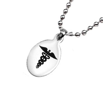 Stainless Oval Medical ID Alert Pendant Necklace