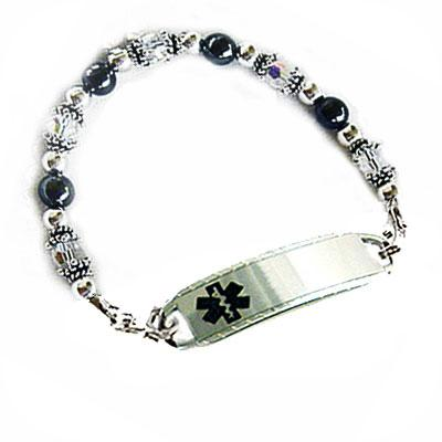 Calming Hematite, crystals, silver beaded medical id bracelet, Creative Medical ID
