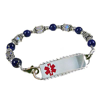 Silver and Crystal Beaded Medical Alert Bracelet