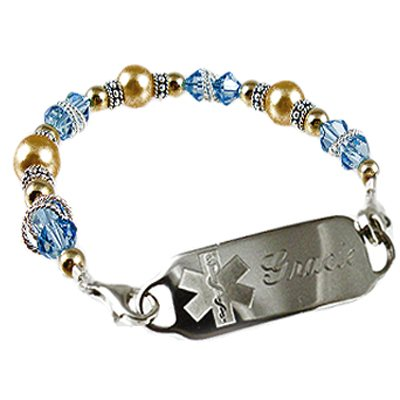 Cashmere in Aqua Medical ID Bracelet Jewelry