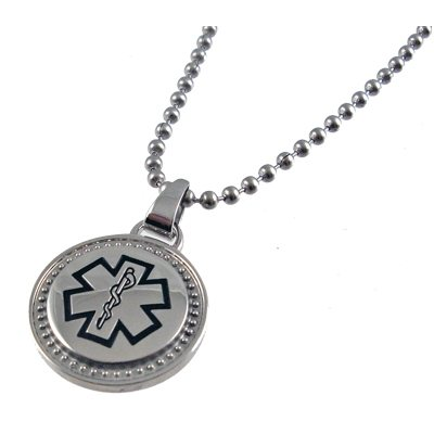 Round Stainless Medical ID Necklace