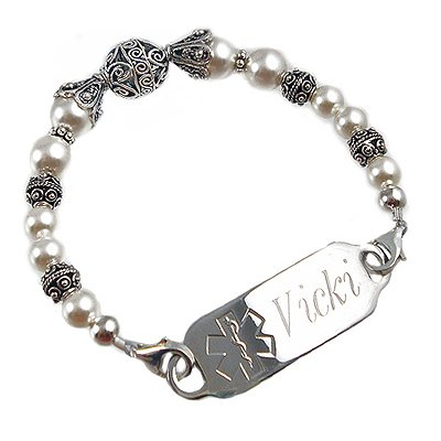 Starlet in White Medical ID Jewelry