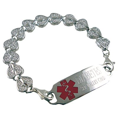Stainless Heart Medical ID Bracelet
