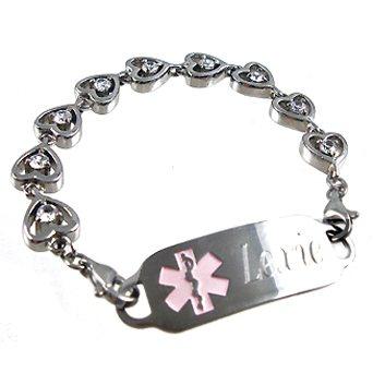 Stainless Heart Medical ID Bracelet