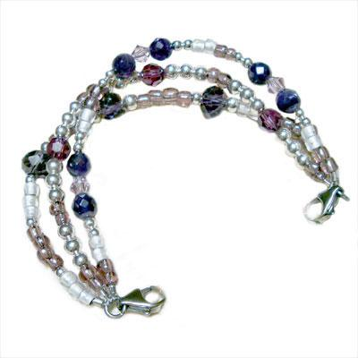 Duchess amethyst triple strand medical alert bracelet, no medical tag