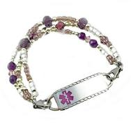 Duchess amethyst triple strand, medical alert bracelet free engraved tag