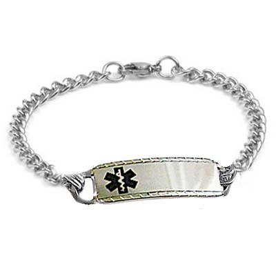 Sterling silver hammered oval link medical alert bracelet