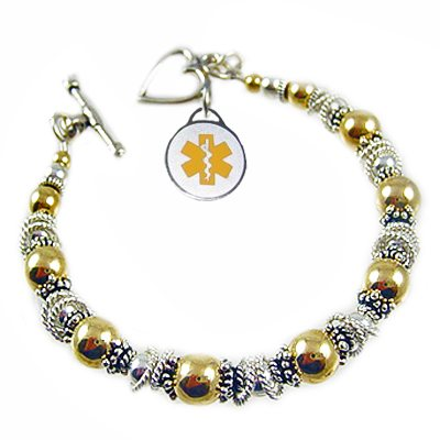 Gold Fire & Ice Medical Charm Bracelets