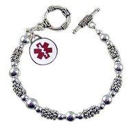 Silver Shimmer Medical Charm Bracelets