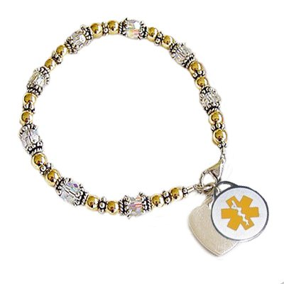 Two-Tone Cherished Love Medical Charm Bracelets