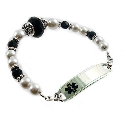 Night Life black faceted crystal, silver crowns, swarovski pearls