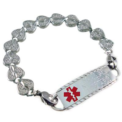 Elite Heart Links medical id bracelet and engraved tag