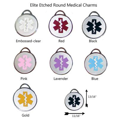 Item Charm19 Elite Round Medical Id Charm
