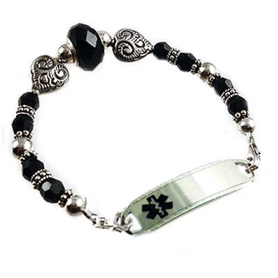 Endless Love sterling silver hearts, black crystals beaded medical alert bracelet