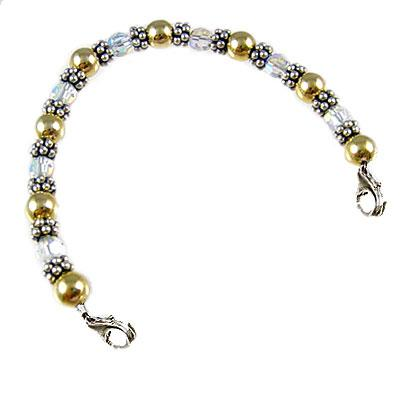 Golden Crystals beaded strand for medical bracelet, tag sold separately