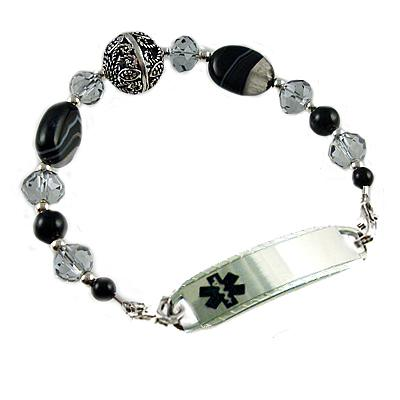 Black Onyx Agate and Sterling Silver Medical Alert Bracelet