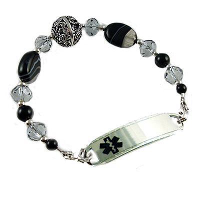 Black Onyx Agate and Sterling Silver Medical Alert Bracelet