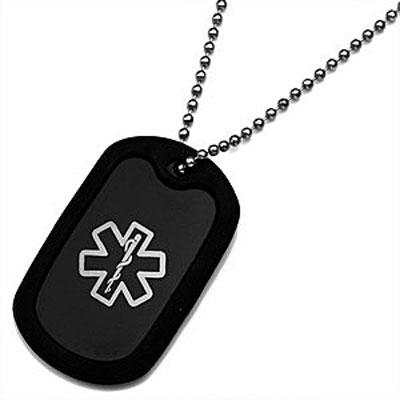 Jet black Pop of Color medical id dog tag silencer