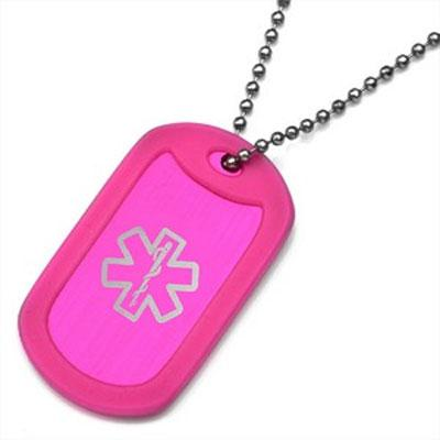 Hot Pink Pop of Color medical id dog tag silencer