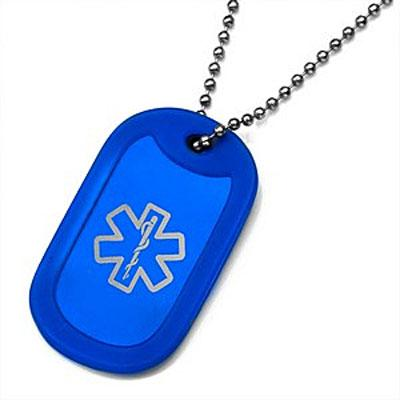 Royal Blue Pop of Color medical id dog tag silencer