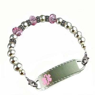 Kensington swarovski pearl and crystal rondelle medical alert bracelet.