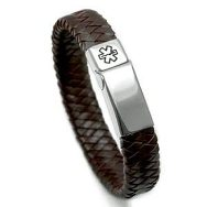 Girls & Ladies Dark Pink Leather Medical Bracelet
