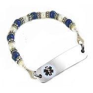 Classic Lapis & Pearls Petite Medical Bracelets