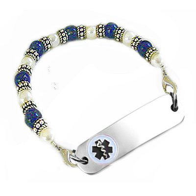 Classic Lapis & Pearls Petite Medical Bracelets