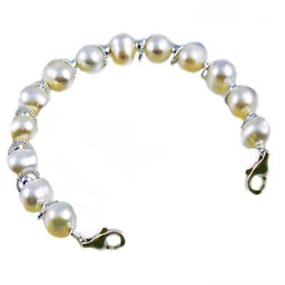 Paradise Pearls in white and silver beaded strand to interchange with any of our stainless medical i