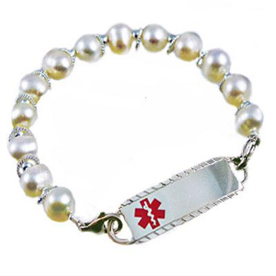 Paradise Pearls in white sterling silver beaded medical id bracelet