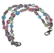 Pastel Illusions triple strand of sparkly crystals, pearls, silver glass beads medical tag ordered s