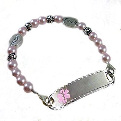 Pink Cancer Medical Alert Bracelet