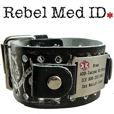 Tribal Thorn Leather Medical Band - Black