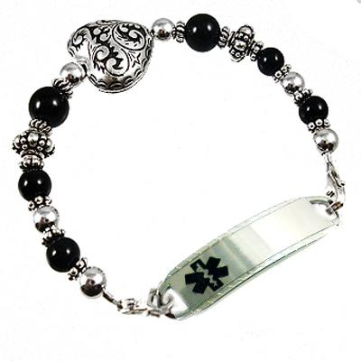 Romancing the Stone medical bracelet with onyx or turquoise, silver filigree puff heart free engrave