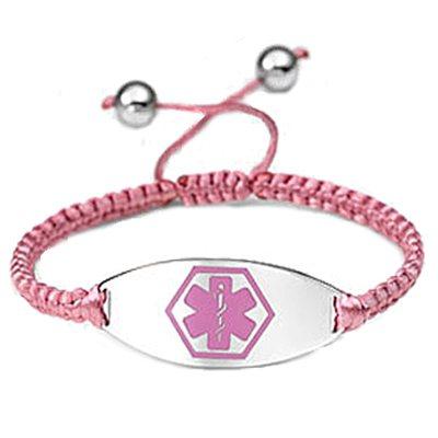 Pink Macrame Medical ID Bracelet