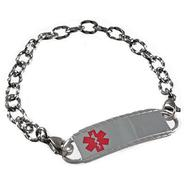 Small Stainless Hammered Link Medical Bracelet Includes Tag