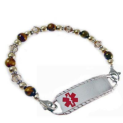Topaz Spiced Tiger, tiger eye topaz crystals gold silver medical id bracelet