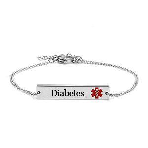 Stainless Diabetes Medical Alert adjustable Bracelet