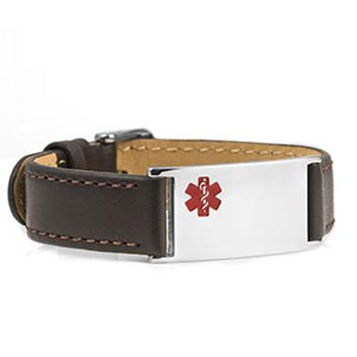 Brown Leather and Stainless Medical Bracelet