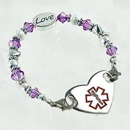 Hearts Desire Medical Heart Charm Bracelet