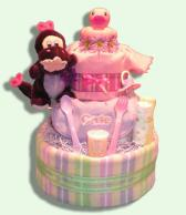 Cute & Cuddly Girl Diaper Cakes-Baby Gifts Canada