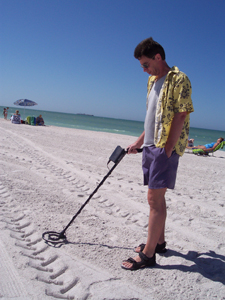 metal detecting on beach